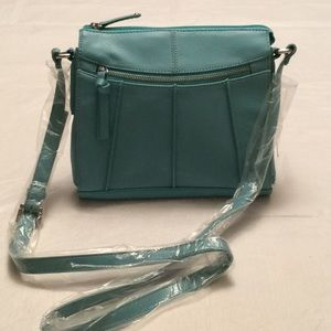 TIGNANELLO Turquoise Pebble Leather Cross Body Bag